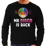Bellatio Decorations Funny emoticon sweater Mr. Disco is back zwart heren