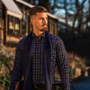 Tailor Store Trendig rutig skjorta i navy