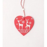 Decoratiune inimioara lemn rosu reni