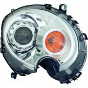 Faro fanale proiettore anteriore XENON HID destro MINI R56, 2006-2014, cromato freccia arancio D1S, con motorino regolazione elettrica