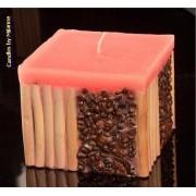 Designkaarsen com Koffie bamboe kaars ROZE - kaarsen