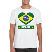 Bellatio Decorations Braziliaanse vlag in hartje shirt wit heren