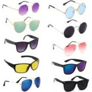 SRPM Aviator, Round, Wayfarer Sunglasses(Violet, Green, Black, Yellow, Blue, Pink)