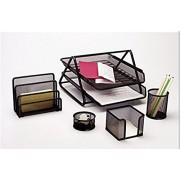 Neo gold leaf Set Of 5 Stationery Set, Desk Organiser Set, Mesh Office Set, Desktop Accessories