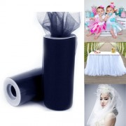 Fashion Tulle Roll 20D Polyester Wedding Birthday Decoration Decorative Crafts Supplies Size: 160cm x 25cm(navy)