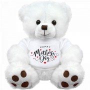 18 Inch White Teddy Bear wearing Happy Mothers Day Tshirt Plush Soft Toy