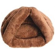 YLCJ Fur Dog Cat Pet Bed Colchón Almohada Lavable Cojín Soft Warm Bed Lavable Felpa Acolchada Suave y cómoda. (Color: marrón, tamaño: L 45 * 45 * 33 cm)