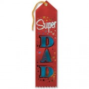 """Super Dad Award Ribbon (Red) 2"""" x 8"""" Party Accessory"""