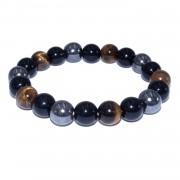 Bracelet pierres de protection: oeil de tigre + obsidienne + hématite