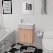 vidaXL Set mobilier baie format din 3 piese cu chiuvetă inclusă, Bej