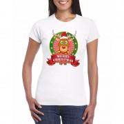 Bellatio Decorations Rudolf Kerst t-shirt wit Merry Christmas voor dames