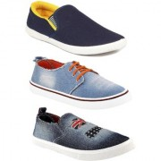 Chevit Men's Combo Pack Of 3 Casual Shoes Sneakers With Loafers