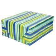 Shoppartners Cadeaupapier blauw/groen gestreept 70 x 200 cm