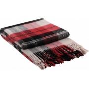 Patura lana merinos Valentini Bianco Elf 140 x 200 cm negru cu rosu