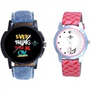 Super Black Dial And Pink Peacock Couple Analogue Watch By Vivah Mart