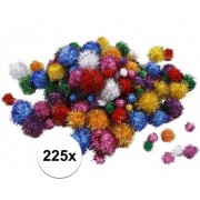 Merkloos 225x knutsel pompons 15-40 mm glitterkleuren