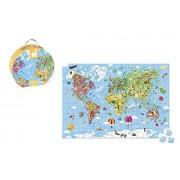 Janod Hat Box Puzzle - Giant World Map Puzzle