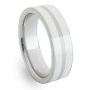 Ocelový prsten se stříbrem ZAG06600