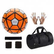 Combo of Ordem Orange/White Football (Size-5) Kit Bag & Supporters