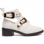 ComeGetFashion Buckle Boots White Gold - Cut Out Boots