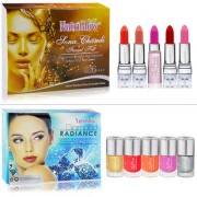 Best Makeup Spa Combo Of Facial Kit Lipstick And Nail Paint Pack Of 12pcs