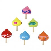 6pcs Colorful Wooden Heart Shaped Funny Gyro Peg-top Spinning Top Kid Educational Toy (Random Color)