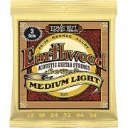 Ernie Ball Earthwood Medium Light 80/20 Bronze Sets .012 - .054 (3 Pack)