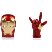 DARK EDGE Iron Man Hand 32 GB Pen Drive Metal Hand with Glowing LED Hand WITH Iron Man Head 32 Gb Usb Pen Drive Metal Face With Glowing Led Eyes Pack of 2 Pendrive 32 GB Pen Drive(Red, Gold)