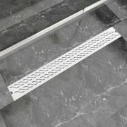 vidaXL Rigolă liniară duș, model ondulat, oțel inoxidabil, 930x140 mm