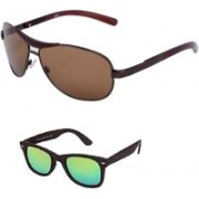 Amour-Propre Aviator Sunglasses(Black, Green)