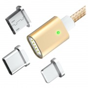 TOPK AM21 3-in-1 Magnetic Cable - Lightning, USB-C, MicroUSB - Gold