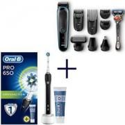 Комплект Braun MGK3080 9 в 1, Тример за лице + самобръсначка Gillette + Електрическа четка за зъби Oral-B Pro 650