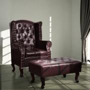 vidaXL Fotelja s Podnožnikom Umjetna Koža Tamno Smeđa