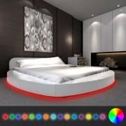 vidaXL Легло с матрак, LED, 180x200 cм, кръгло, изкуствена кожа, бяло