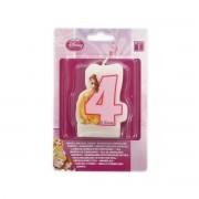 Lumanare pentru tort Princess cifra 4