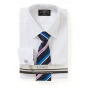 Lowes Self Stripe Premium White Shirt