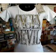 Angel Devil T-shirt donna Angel Devil girocollo con logo in paillettes