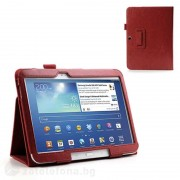 Кожен калъф за Samsung Galaxy Tab 3, 10 инча - червен
