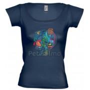 Tricou Petissimo Jungle de femei - albastru XS-S