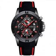LUKYO Relogio Masculino Reloj de Pulsera Deportivo para Hombre, Impermeable, Cuarzo, Silicona, Color Azul Rojo