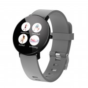 F25 Color Large Round Touch Screen Fitness Monitoring Waterproof Smart Bracelet [Leather Strap] - Grey / Black