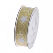 Szalag glitteres csillagokkal 25mmx20m arany