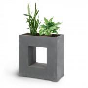 Airflor Vaso de plantas 70 x 70 x 27 cm Fibra de vidro interna/externa cinza escuro