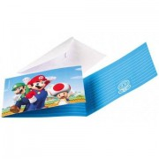 Uitnodigingskaartjes Super Mario 8 stuks