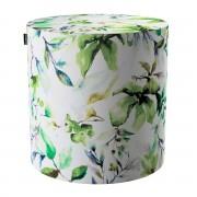 Dekoria Puf Barrel, zielone gałązki na kremowym tle, ø40, wys. 40 cm, Velvet