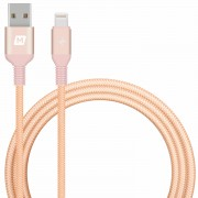 MOMAX Elite Link 1.2M Woven MFI Lightning 8pin USB Cable for iPhone iPad iPod - Rose Gold