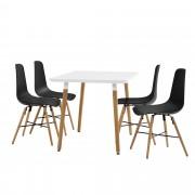 [en.casa]® Dizajnová jedálenská zostava - stôl so 4 stoličkami - čierna