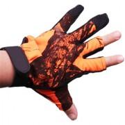Futaba 3 Cut Finger Anti Slip Camouflage Fishing Glove - Orange - Pack of two