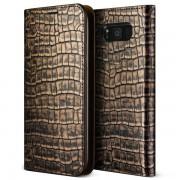 Verus Genuine Croco Diary Case - кожен калъф (естествена кожа), тип портфейл за Samsung Galaxy S8 Plus (тъмно злато)