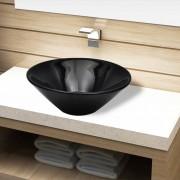 vidaXL Керамична кръгла мивка за баня, черна